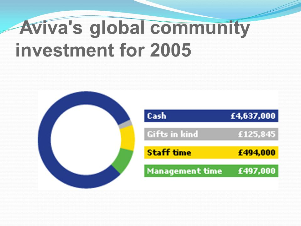 Aviva s global community investment for 2005