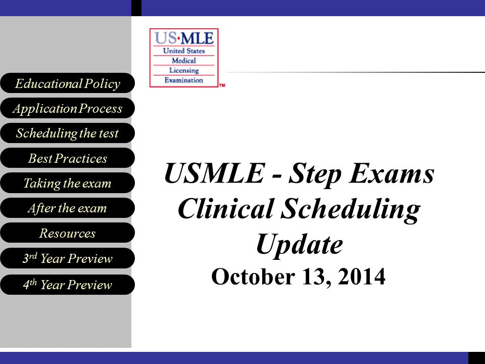 Scheduling the test Best Practices Resources Application Process Educational Policy After the exam Taking the exam 3 rd Year Preview 4 th Year Preview Agenda Georgette Dent, MD – 3 rd Year Scheduling & USMLE updates Ann Farabee – Signing up for USMLE Step 1