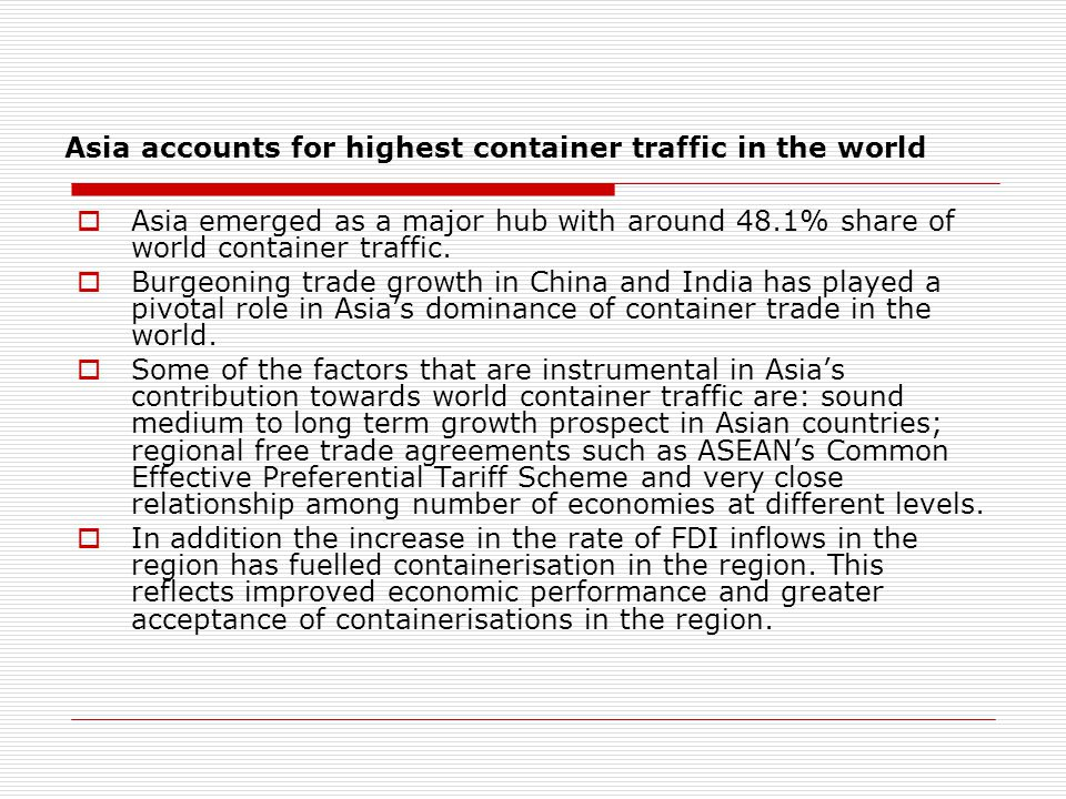 Asia accounts for highest container traffic in the world  Asia emerged as a major hub with around 48.1% share of world container traffic.