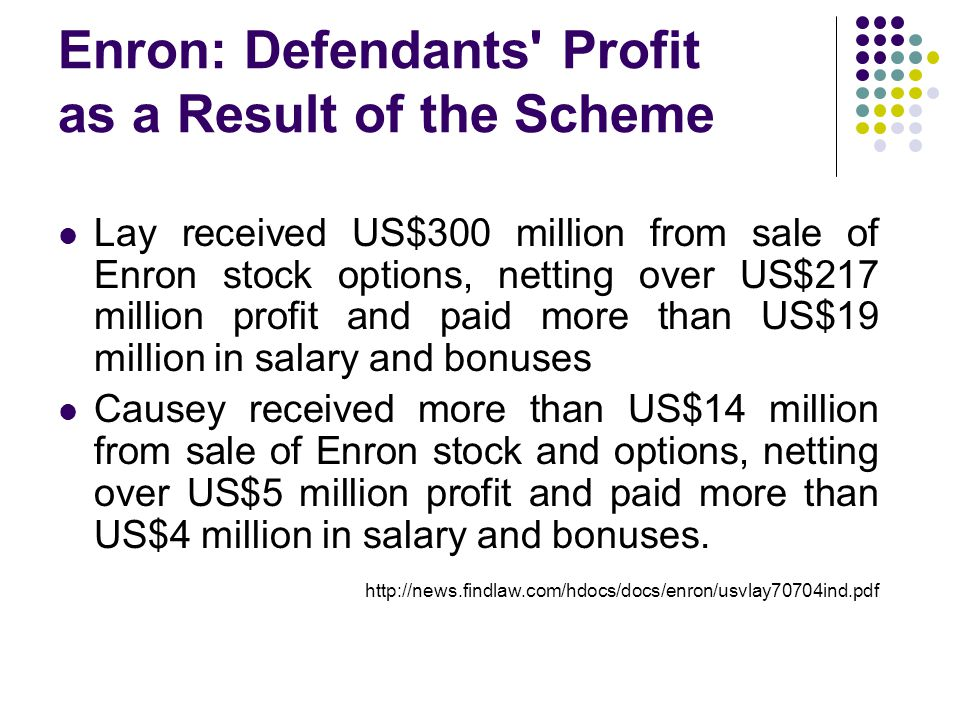 Enron: Defendants Profit as a Result of the Scheme Lay received US$300 million from sale of Enron stock options, netting over US$217 million profit and paid more than US$19 million in salary and bonuses Causey received more than US$14 million from sale of Enron stock and options, netting over US$5 million profit and paid more than US$4 million in salary and bonuses.
