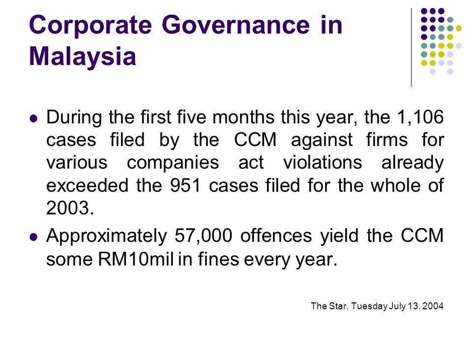 Corporate Governance in Malaysia During the first five months this year, the 1,106 cases filed by the CCM against firms for various companies act violations already exceeded the 951 cases filed for the whole of 2003.