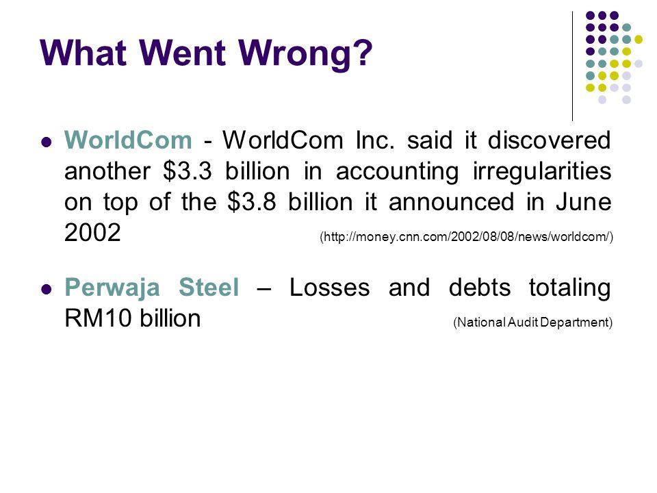What Went Wrong. WorldCom - WorldCom Inc.