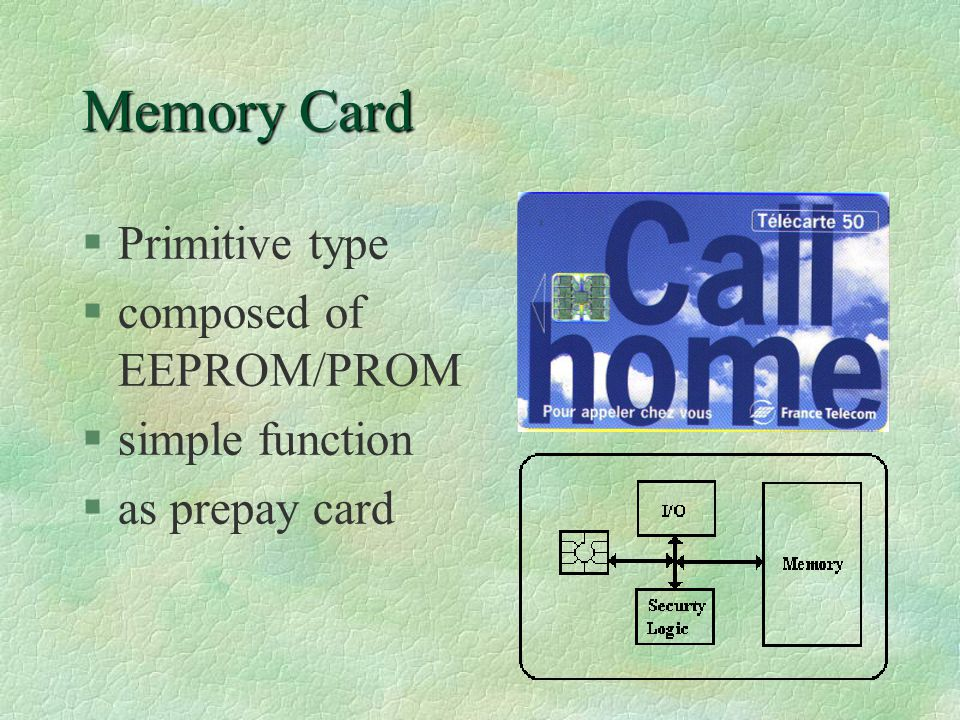 Crypto-processor IC Cards §composed of crypto-processor & PROM §a powerful MPU §can recognize illegal signal and security features