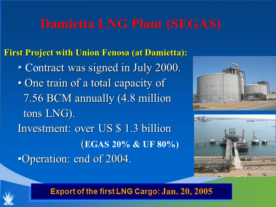 First Project with Union Fenosa (at Damietta): ntract was signed in July 2000.