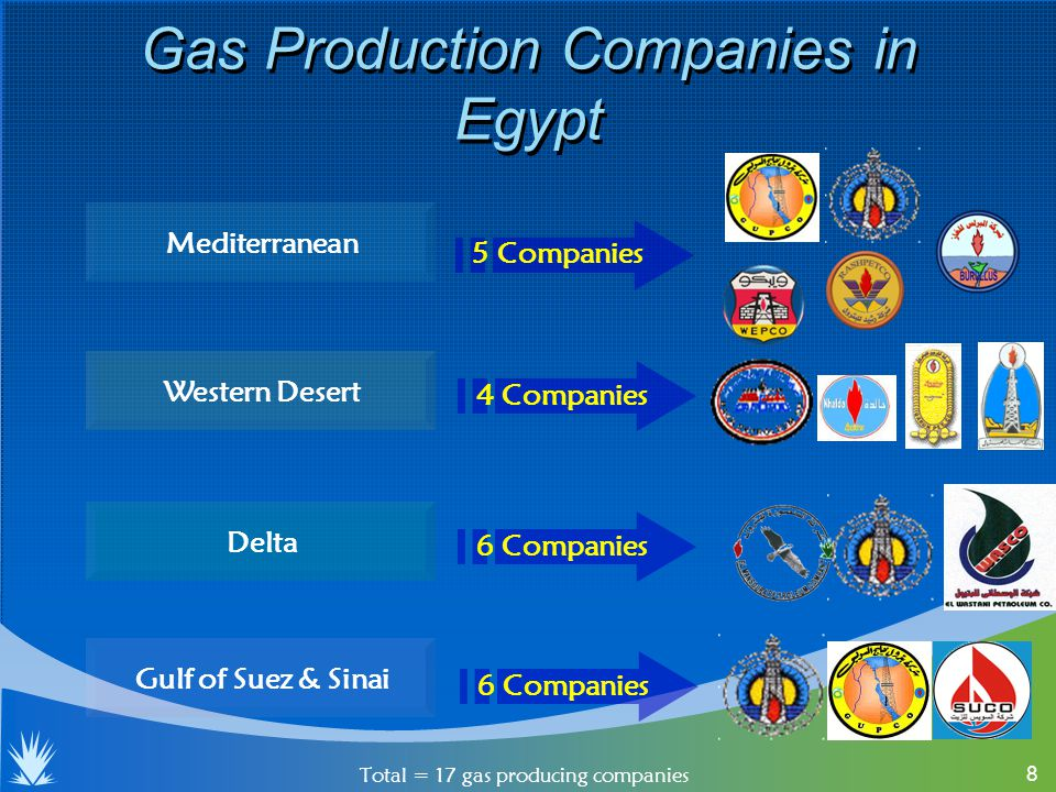 8 Gas Production Companies in Egypt Total = 17 gas producing companies Mediterranean Delta Western Desert Gulf of Suez & Sinai 5 Companies 4 Companies 6 Companies