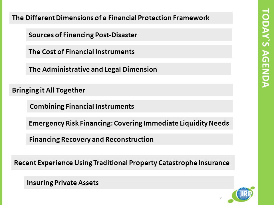 TODAY`S AGENDA The Different Dimensions of a Financial Protection Framework The Administrative and Legal Dimension Bringing it All Together Combining Financial Instruments Financing Recovery and Reconstruction Recent Experience Using Traditional Property Catastrophe Insurance Insuring Private Assets Emergency Risk Financing: Covering Immediate Liquidity Needs Sources of Financing Post‐Disaster The Cost of Financial Instruments 2
