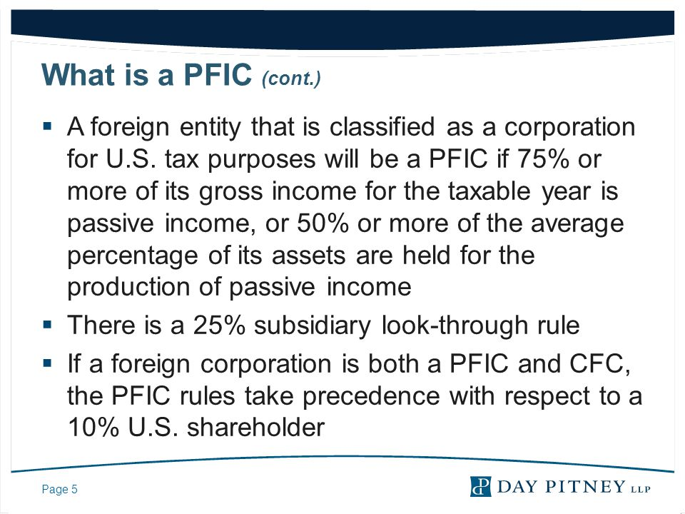 Page 36 Examples Direct PFIC Holding  Assume a nonresident alien invests $1,000,000 in stock of a PFIC in 2002  He holds the stock in his own name or in a revocable trust which allows him to direct payments of income  The PFIC stock grows 5% a year.