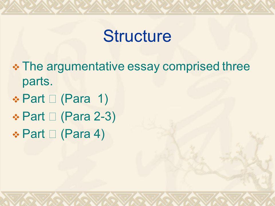 Structure  The argumentative essay comprised three parts.