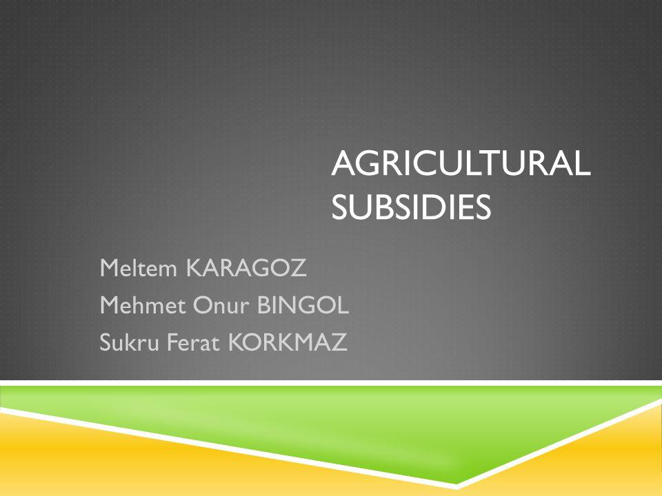 AGRICULTURAL SUBSIDIES Meltem KARAGOZ Mehmet Onur BINGOL Sukru Ferat KORKMAZ