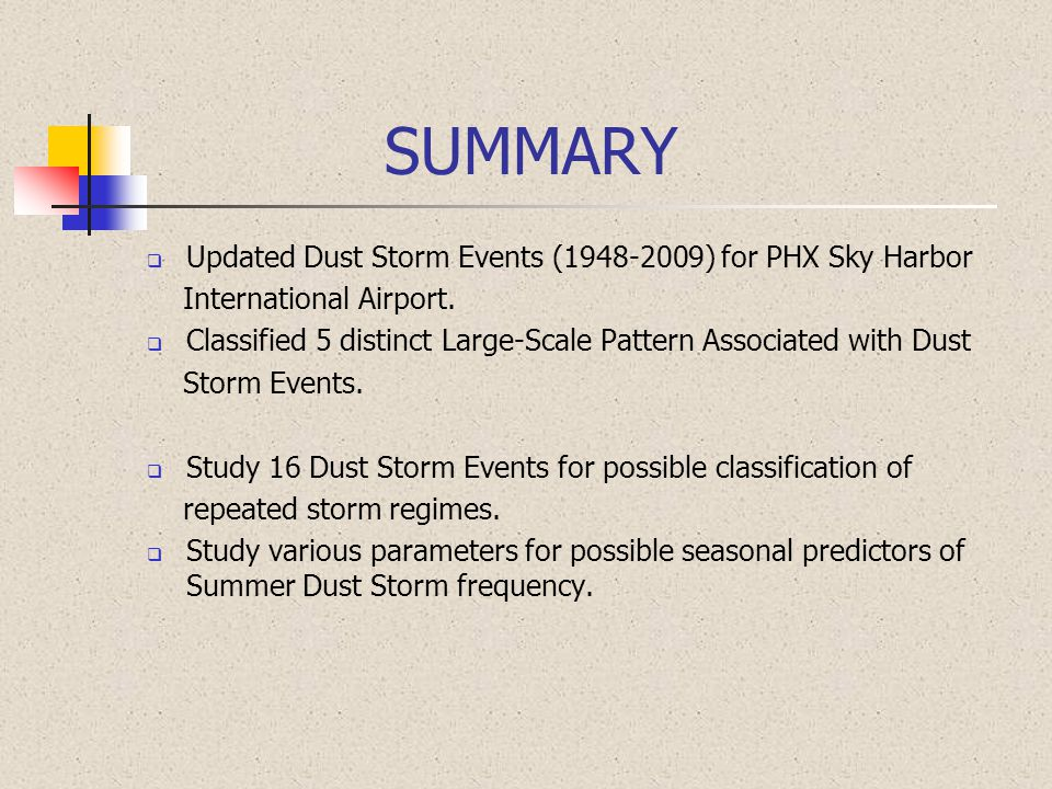 SUMMARY  Updated Dust Storm Events (1948-2009) for PHX Sky Harbor International Airport.