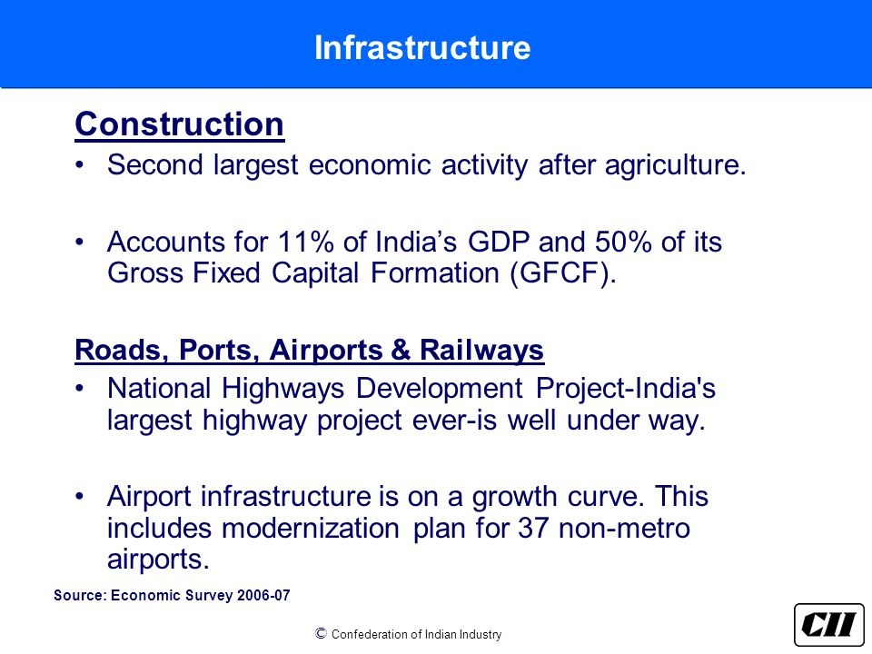 © Confederation of Indian Industry Infrastructure Construction Second largest economic activity after agriculture.
