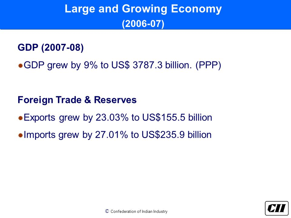 © Confederation of Indian Industry GDP (2007-08)  GDP grew by 9% to US$ 3787.3 billion.