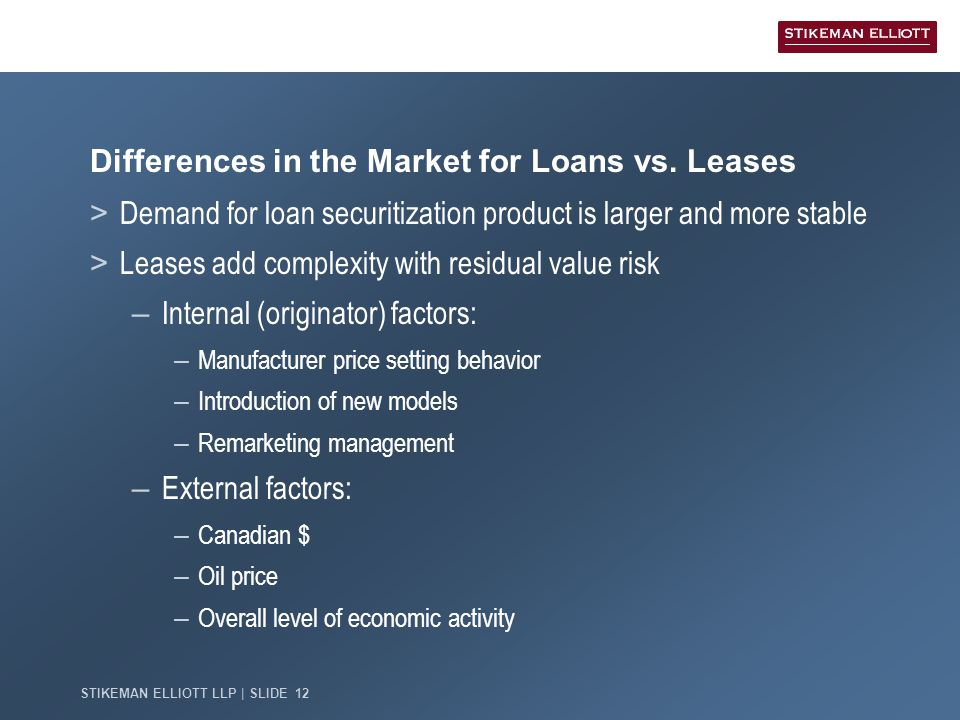 STIKEMAN ELLIOTT LLP   SLIDE 12 Differences in the Market for Loans vs. Leases > Demand for loan securitization product is larger and more stable > Le