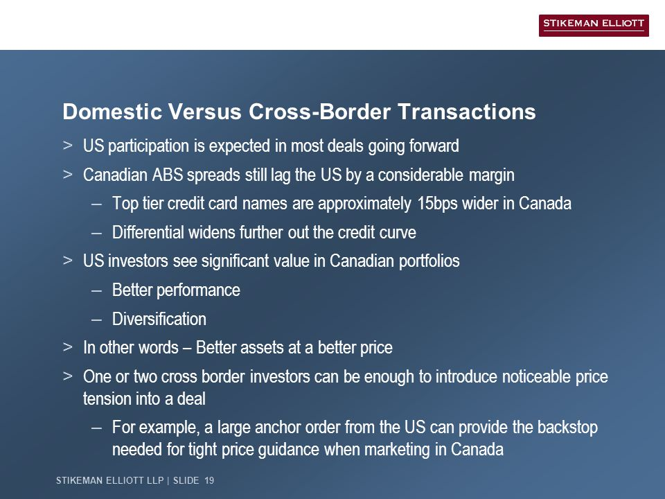 STIKEMAN ELLIOTT LLP | SLIDE 19 Domestic Versus Cross-Border Transactions > US participation is expected in most deals going forward > Canadian ABS spreads still lag the US by a considerable margin – Top tier credit card names are approximately 15bps wider in Canada – Differential widens further out the credit curve > US investors see significant value in Canadian portfolios – Better performance – Diversification > In other words – Better assets at a better price > One or two cross border investors can be enough to introduce noticeable price tension into a deal – For example, a large anchor order from the US can provide the backstop needed for tight price guidance when marketing in Canada