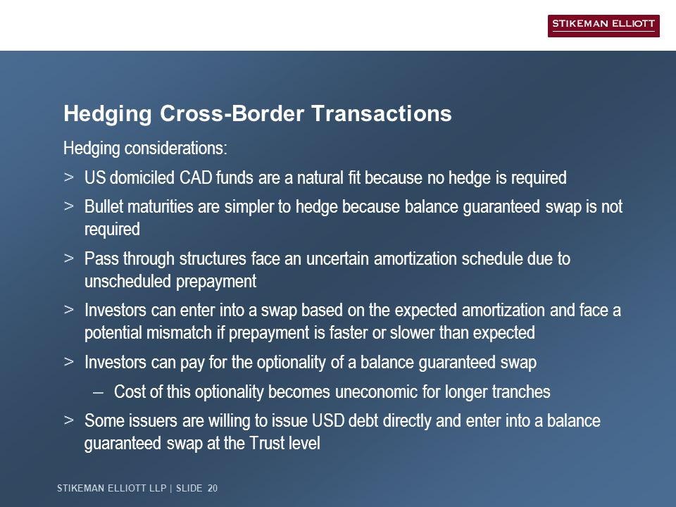 STIKEMAN ELLIOTT LLP | SLIDE 20 Hedging Cross-Border Transactions Hedging considerations: > US domiciled CAD funds are a natural fit because no hedge is required > Bullet maturities are simpler to hedge because balance guaranteed swap is not required > Pass through structures face an uncertain amortization schedule due to unscheduled prepayment > Investors can enter into a swap based on the expected amortization and face a potential mismatch if prepayment is faster or slower than expected > Investors can pay for the optionality of a balance guaranteed swap – Cost of this optionality becomes uneconomic for longer tranches > Some issuers are willing to issue USD debt directly and enter into a balance guaranteed swap at the Trust level
