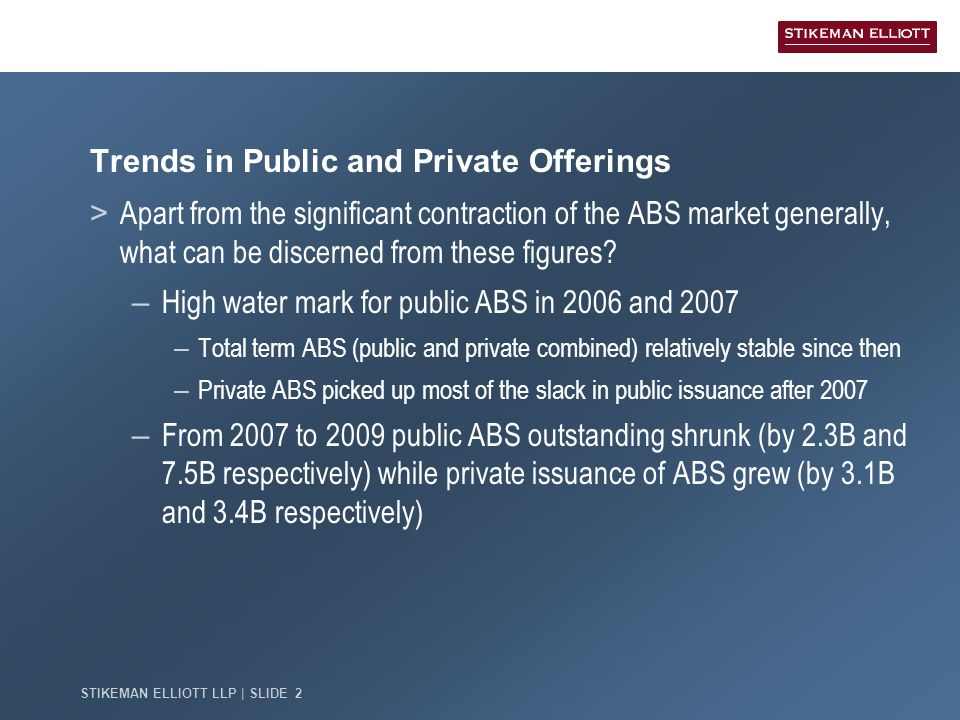STIKEMAN ELLIOTT LLP | SLIDE 2 Trends in Public and Private Offerings > Apart from the significant contraction of the ABS market generally, what can be discerned from these figures.