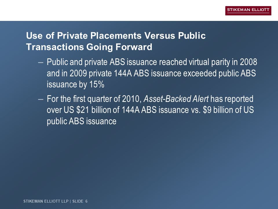 STIKEMAN ELLIOTT LLP | SLIDE 6 Use of Private Placements Versus Public Transactions Going Forward – Public and private ABS issuance reached virtual parity in 2008 and in 2009 private 144A ABS issuance exceeded public ABS issuance by 15% – For the first quarter of 2010, Asset-Backed Alert has reported over US $21 billion of 144A ABS issuance vs.