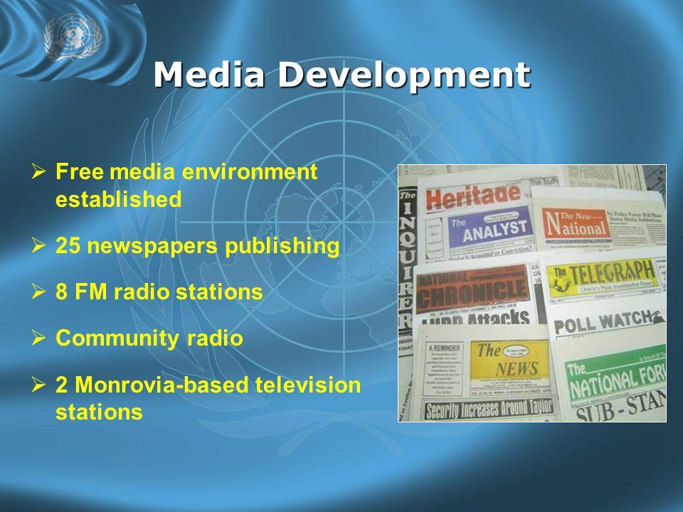 Media Development  Free media environment established  25 newspapers publishing  8 FM radio stations  Community radio  2 Monrovia-based television stations