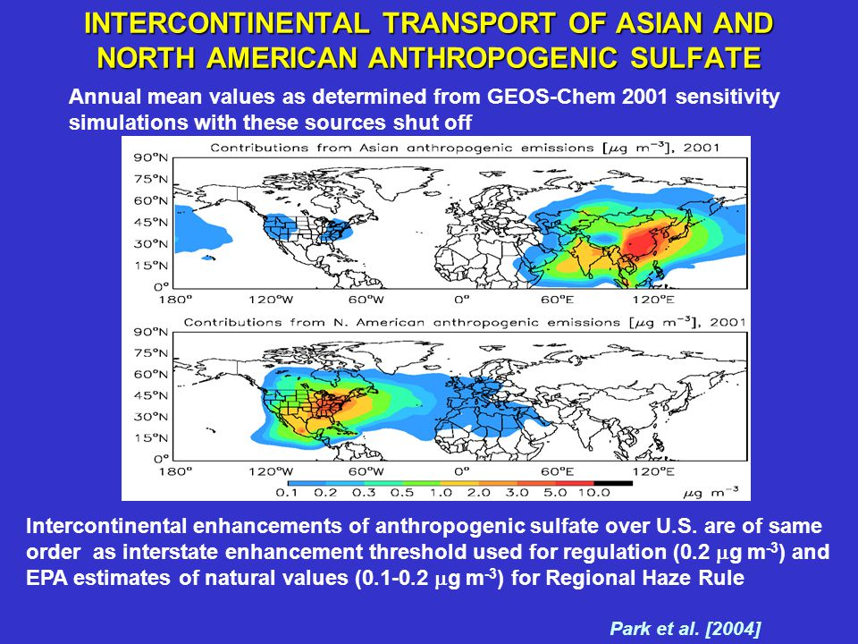 INTERCONTINENTAL TRANSPORT OF ASIAN AND NORTH AMERICAN ANTHROPOGENIC SULFATE Annual mean values as determined from GEOS-Chem 2001 sensitivity simulati