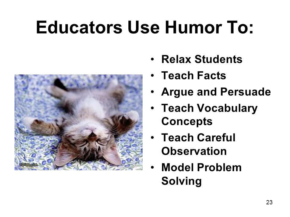 Educators Use Humor To: Relax Students Teach Facts Argue and Persuade Teach Vocabulary Concepts Teach Careful Observation Model Problem Solving 23