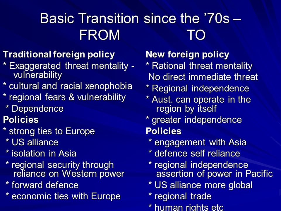 Basic Transition since the '70s – FROM TO Traditional foreign policy * Exaggerated threat mentality - vulnerability * cultural and racial xenophobia * regional fears & vulnerability * Dependence * DependencePolicies * strong ties to Europe * US alliance * US alliance * isolation in Asia * isolation in Asia * regional security through reliance on Western power * regional security through reliance on Western power * forward defence * forward defence * economic ties with Europe * economic ties with Europe New foreign policy * Rational threat mentality No direct immediate threat No direct immediate threat * Regional independence * Aust.