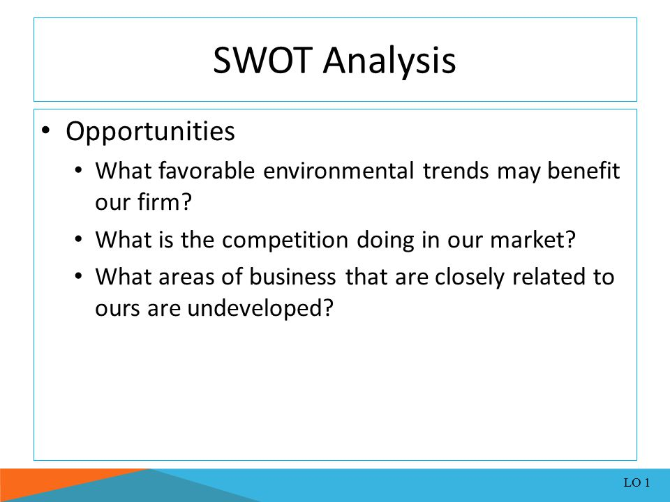 SWOTSWOT Analysis Threats What unfortunate environmental trends may hurt our future performance.
