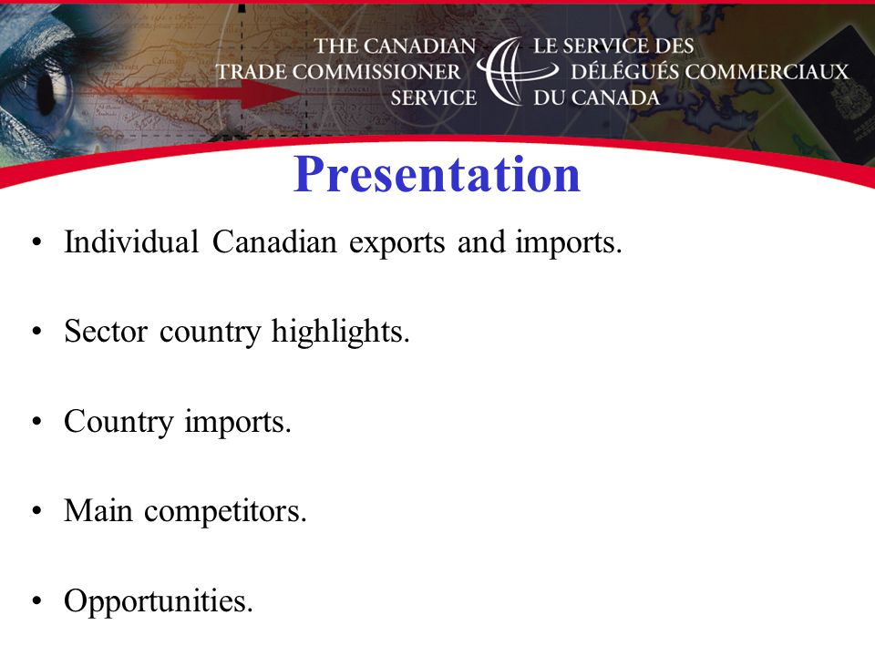 Presentation Individual Canadian exports and imports.