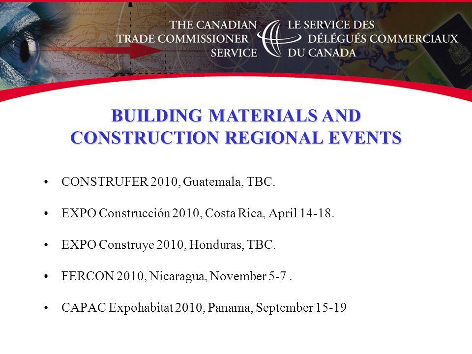 CONSTRUFER 2010, Guatemala, TBC. EXPO Construcción 2010, Costa Rica, April 14-18.