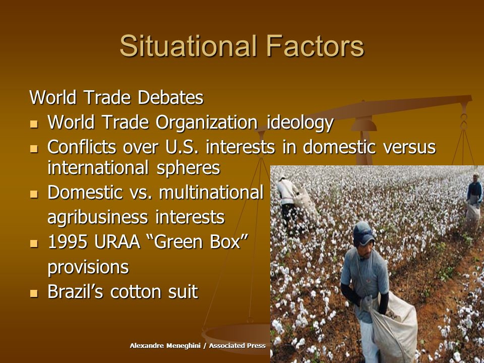 Situational Factors World Trade Debates World Trade Organization ideology World Trade Organization ideology Conflicts over U.S.