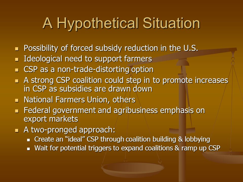 A Hypothetical Situation Possibility of forced subsidy reduction in the U.S. Possibility of forced subsidy reduction in the U.S. Ideological need to s