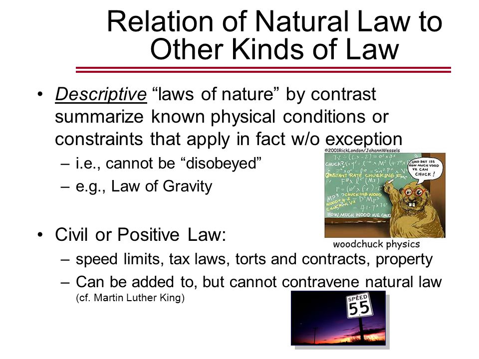 Relation of Natural Law to Other Kinds of Law Descriptive laws of nature by contrast summarize known physical conditions or constraints that apply in fact w/o exception –i.e., cannot be disobeyed –e.g., Law of Gravity Civil or Positive Law: –speed limits, tax laws, torts and contracts, property –Can be added to, but cannot contravene natural law (cf.