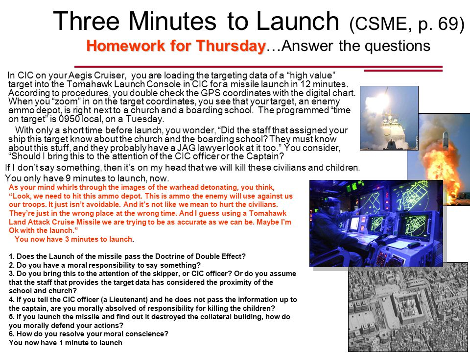 Homework forThursday Three Minutes to Launch (CSME, p.