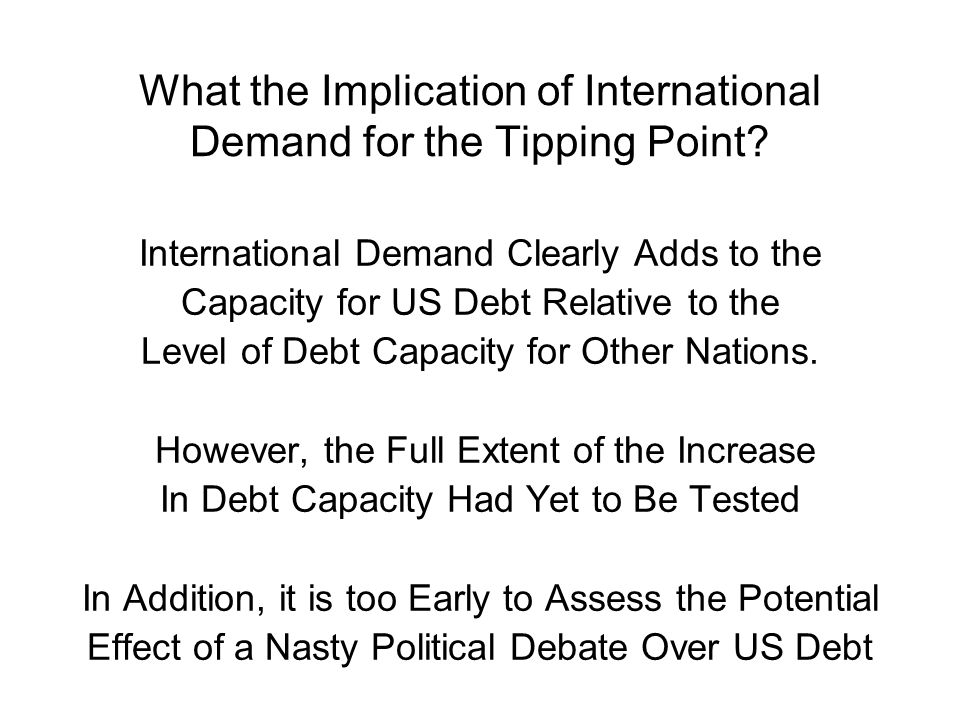 What the Implication of International Demand for the Tipping Point.