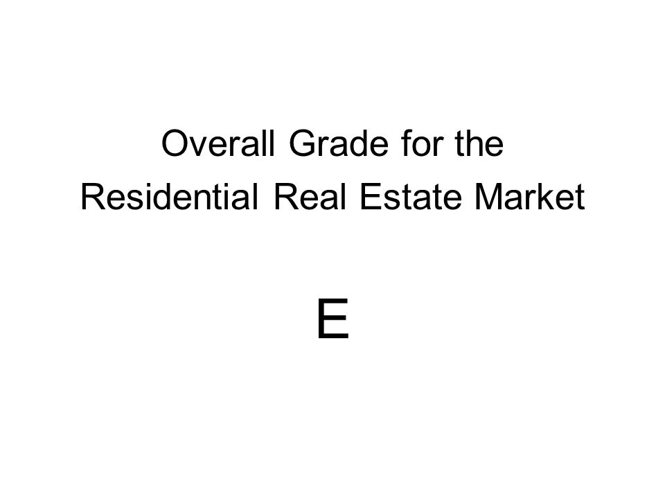 Overall Grade for the Residential Real Estate Market E