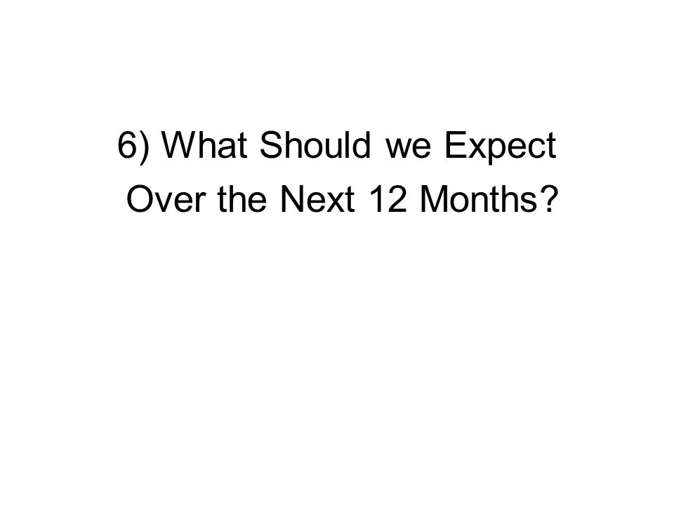6) What Should we Expect Over the Next 12 Months