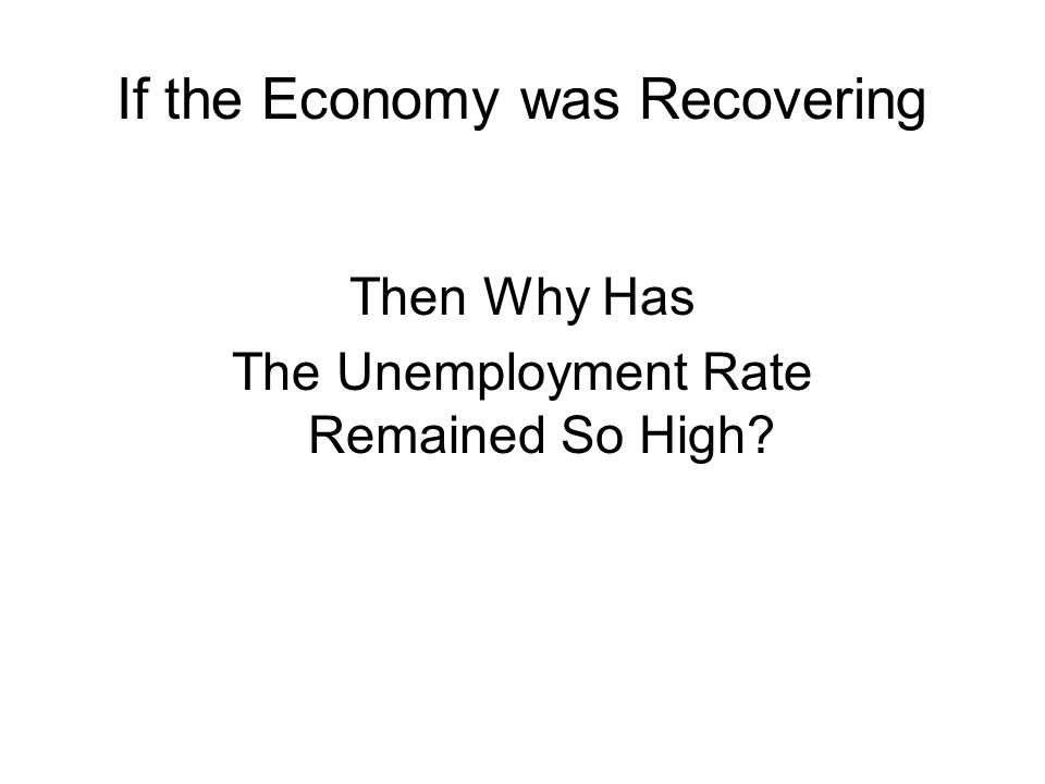 If the Economy was Recovering Then Why Has The Unemployment Rate Remained So High