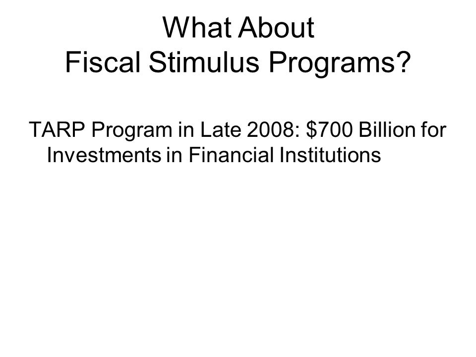 TARP Program in Late 2008: $700 Billion for Investments in Financial Institutions