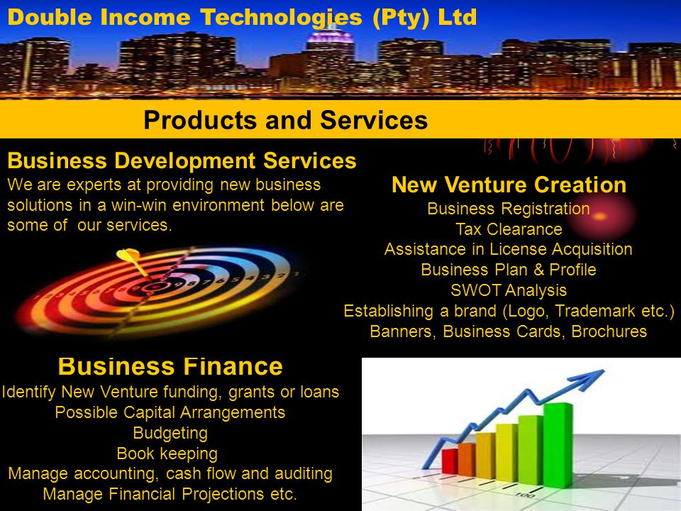 Existing Business Ventures Provide Promotional Services Business Evaluation Business Growth and Sustainability Monitor Survival Stage and Profitability Marketing Prepare Marketing Plan Advertisement and Promotional Implementation Find Brand Ambassadors Billboards Business Website Development Products and Services Double Income Technologies (Pty) Ltd IT Services Software Development Business Intelligent(data management) Mobile Compatible Applications Websites Development Website Listing on our Website for Exposure