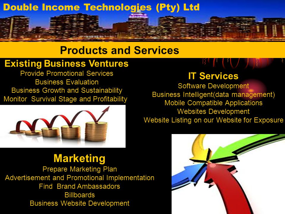 Double Income Technologies (Pty) Ltd Information Brochures available at R15
