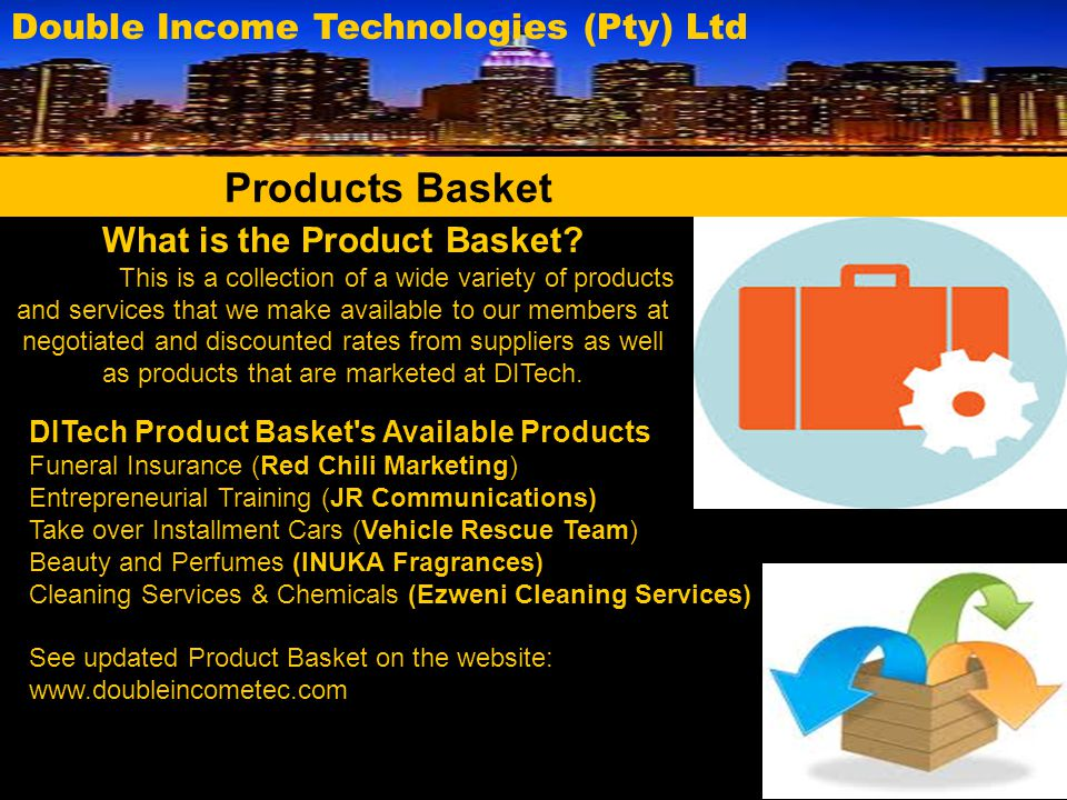 What is the Product Basket? This is a collection of a wide variety of products and services that we make available to our members at negotiated and di