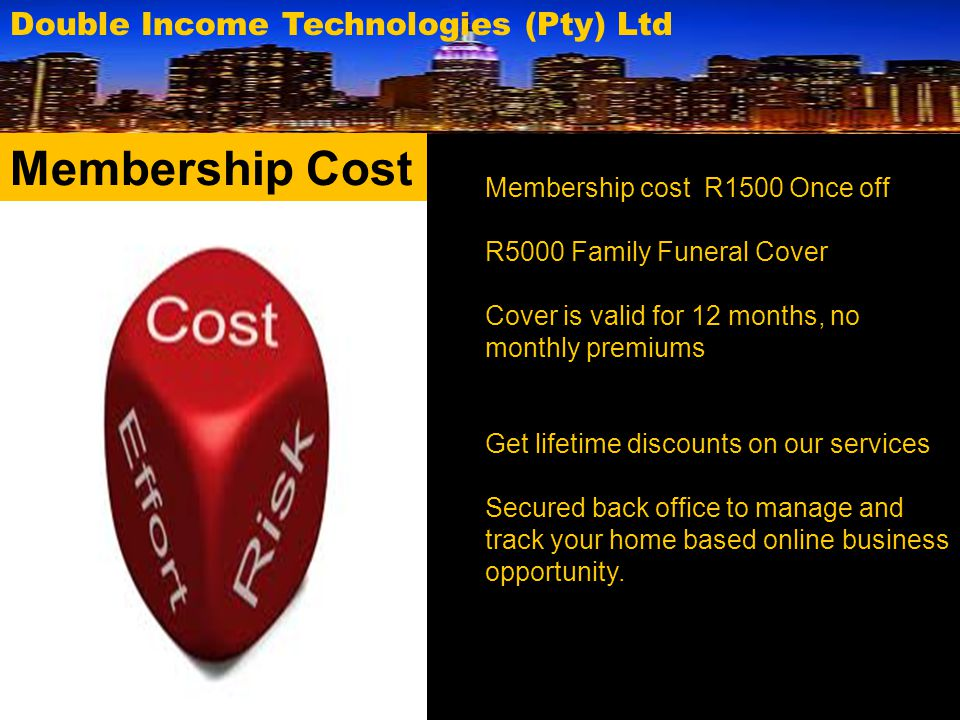 Double Income Technologies (Pty) Ltd Residual Income It is very important therefore that our compensation plan ensures sustainability by introducing members to Entrepreneurial short courses at R2000 only.
