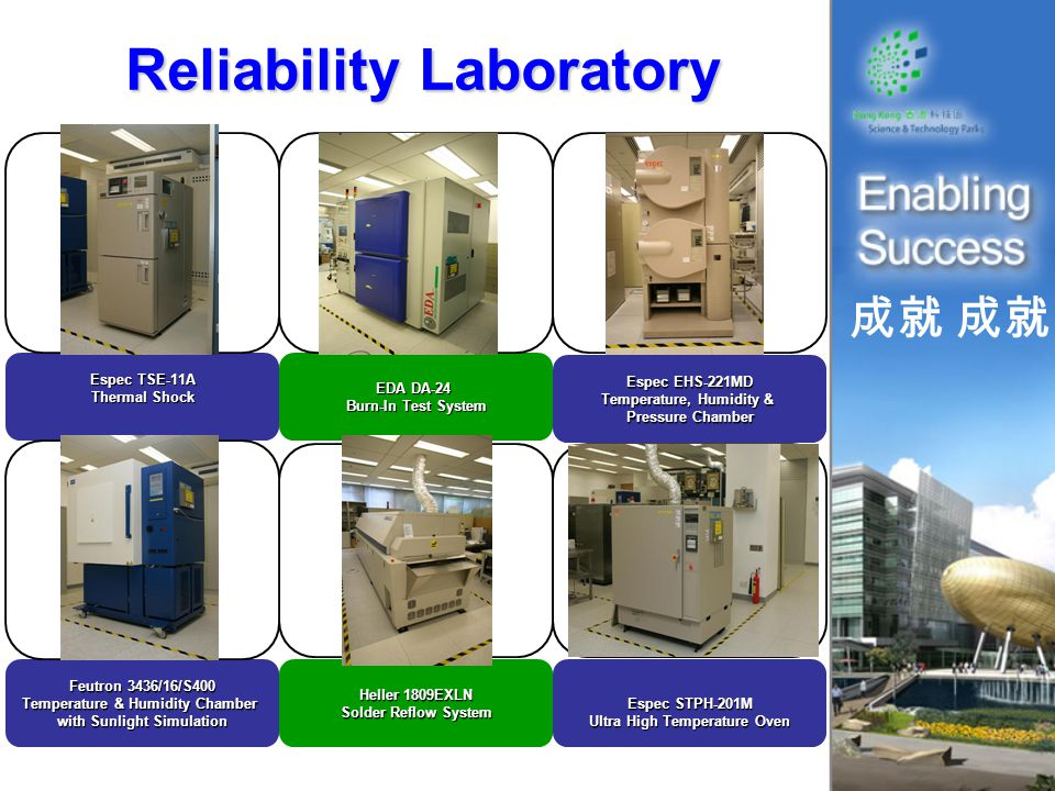 成就 Reliability Laboratory Espec TSE-11A Thermal Shock Heller 1809EXLN Solder Reflow System Espec STPH-201M Ultra High Temperature Oven EDA DA-24 Burn-In Test System Espec EHS-221MD Temperature, Humidity & Pressure Chamber Feutron 3436/16/S400 Temperature & Humidity Chamber with Sunlight Simulation