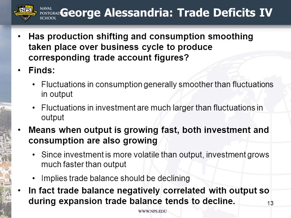 George Alessandria: Trade Deficits IV Has production shifting and consumption smoothing taken place over business cycle to produce corresponding trade