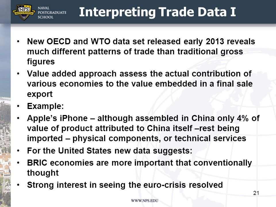Interpreting Trade Data I New OECD and WTO data set released early 2013 reveals much different patterns of trade than traditional gross figures Value added approach assess the actual contribution of various economies to the value embedded in a final sale export Example: Apple's iPhone – although assembled in China only 4% of value of product attributed to China itself –rest being imported – physical components, or technical services For the United States new data suggests: BRIC economies are more important that conventionally thought Strong interest in seeing the euro-crisis resolved 21