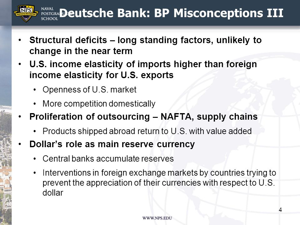 Deutsche Bank: BP Misconceptions III Structural deficits – long standing factors, unlikely to change in the near term U.S.