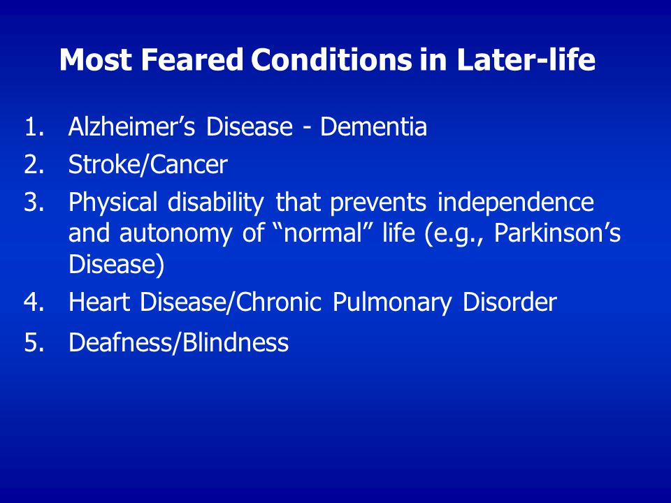 Most Feared Conditions in Later-life 1.1.Alzheimer's Disease - Dementia 2.