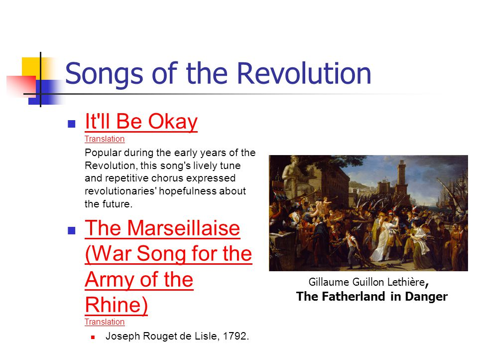 Songs of the Revolution It'll Be Okay Translation It'll Be Okay Translation Popular during the early years of the Revolution, this song's lively tune