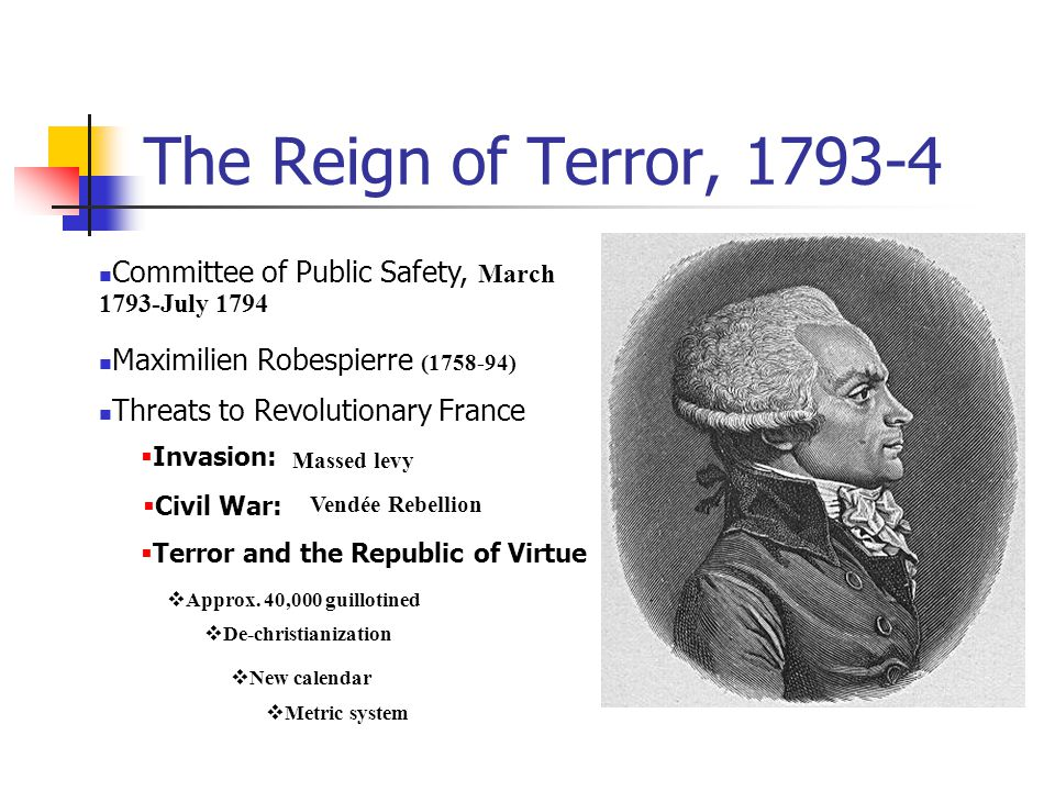 The Reign of Terror, 1793-4 Committee of Public Safety, March 1793-July 1794 Maximilien Robespierre (1758-94) Threats to Revolutionary France  Invasi