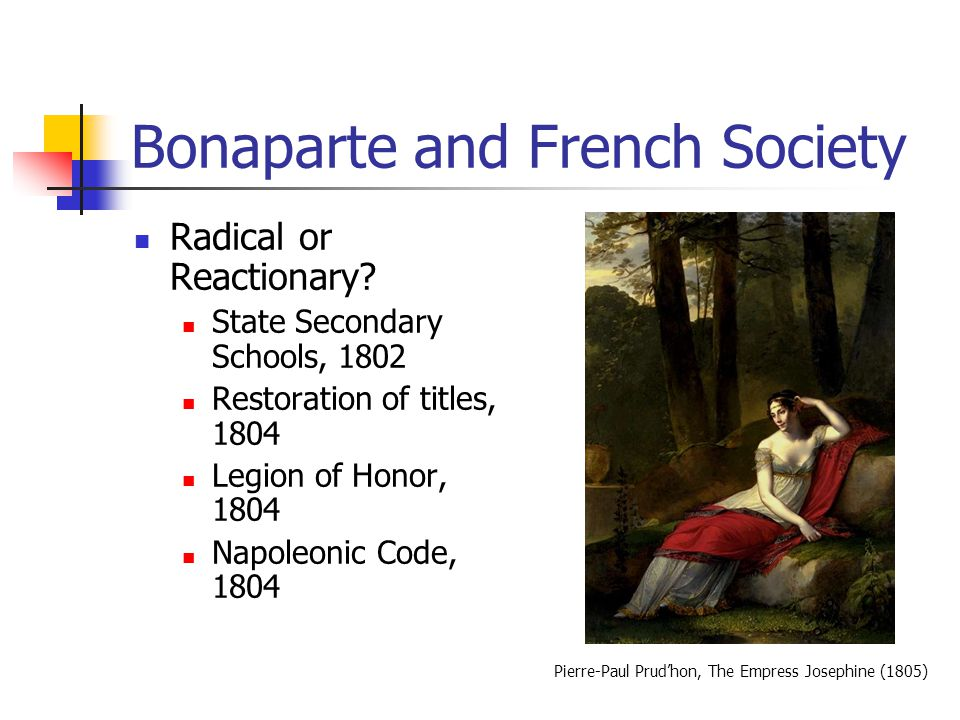Bonaparte and French Society Radical or Reactionary? State Secondary Schools, 1802 Restoration of titles, 1804 Legion of Honor, 1804 Napoleonic Code,