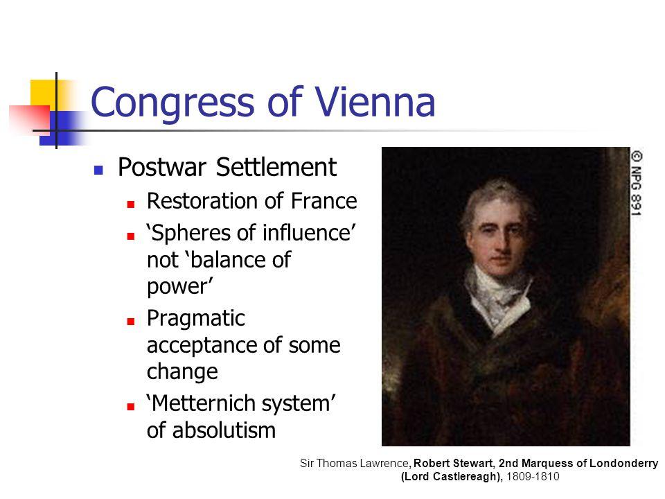 Congress of Vienna Postwar Settlement Restoration of France 'Spheres of influence' not 'balance of power' Pragmatic acceptance of some change 'Mettern